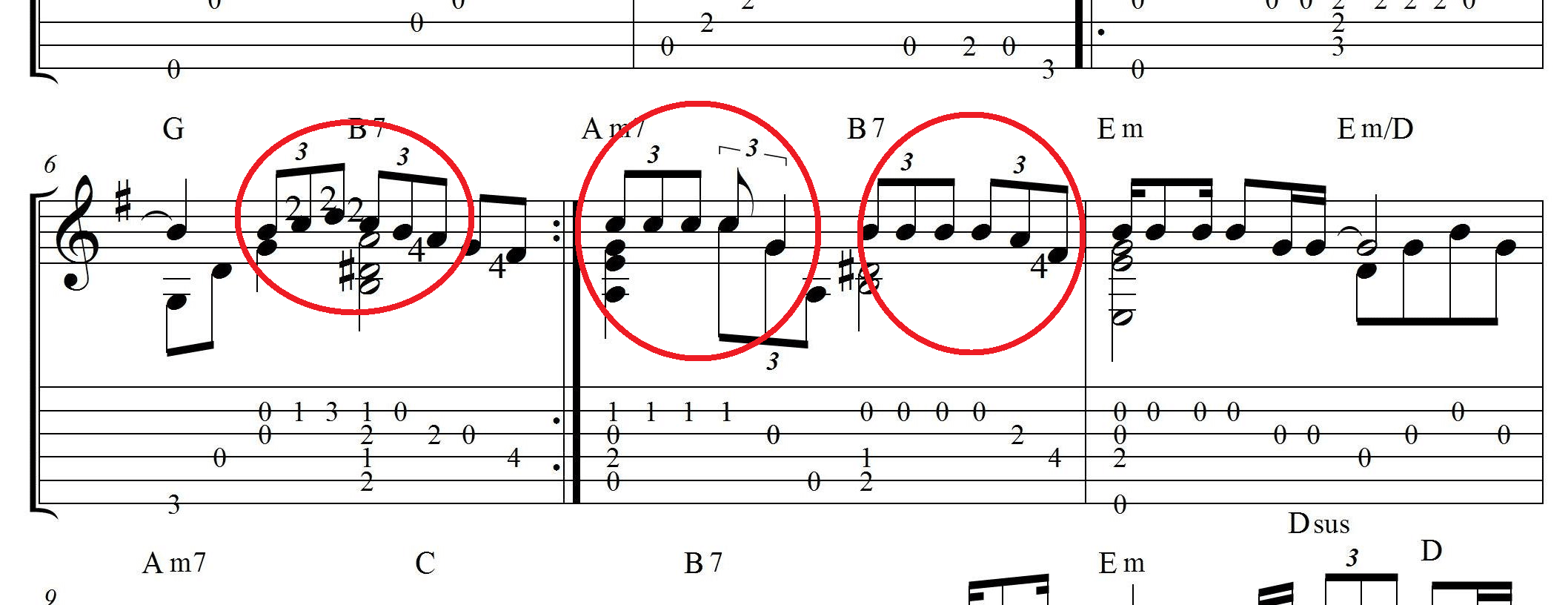 ноты для гитары с триолями
