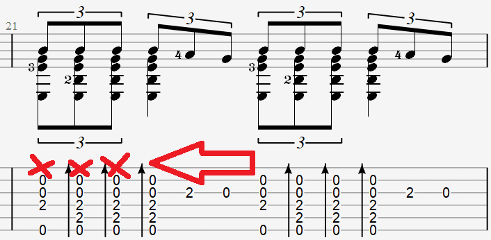 Глушения первой струны в табах для гитары песни Давай за