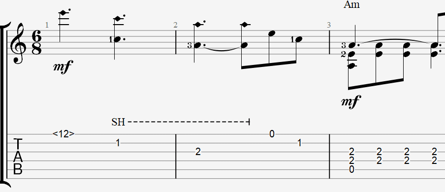 табы и ноты для гитары в лунном сиянье