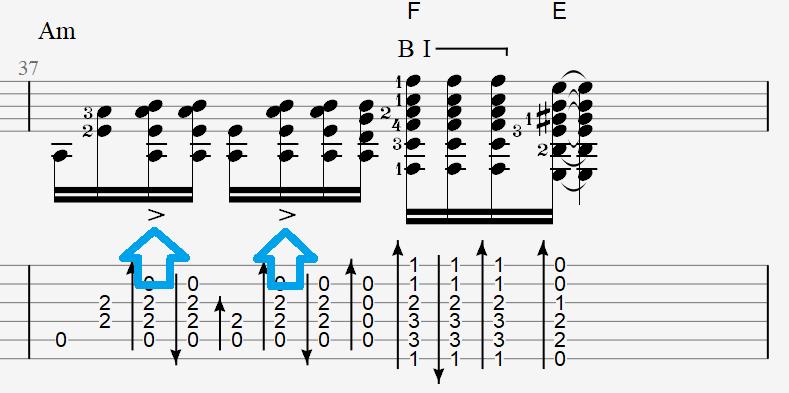 обозначение акцентов в бое на гитаре в табах Седая ночь