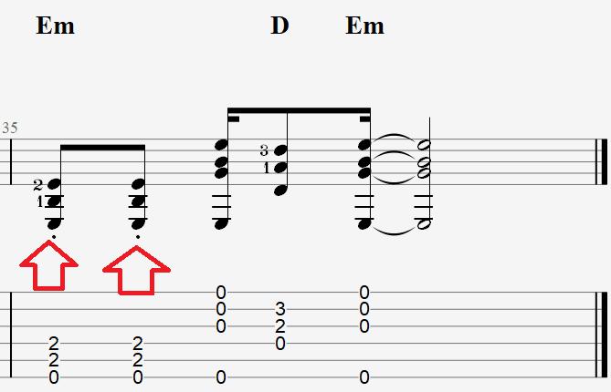 обозначение стаккато в нотах для гитары Розовый вечер